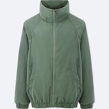 WOMEN STAND COLLAR BLOUSON, GREEN, medium