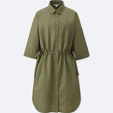 WOMEN LINEN BLEND 3/4 SLEEVE SHIRT DRESS, GREEN, medium