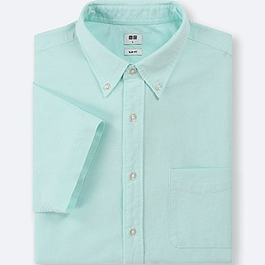 MEN OXFORD SLIM-FIT SHORT-SLEEVE SHIRT, GREEN, medium
