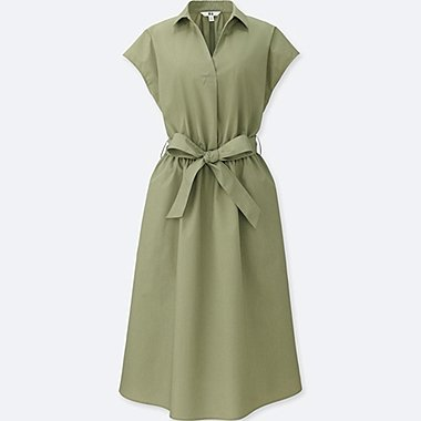WOMEN SKIPPER SHORT-SLEEVE SHIRT DRESS, GREEN, medium
