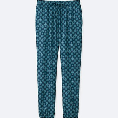 WOMEN DRAPE FLORAL-PRINT PANTS, GREEN, medium