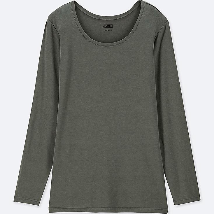 WOMEN HEATTECH CREW NECK LONG-SLEEVE T-SHIRT, GREEN, large