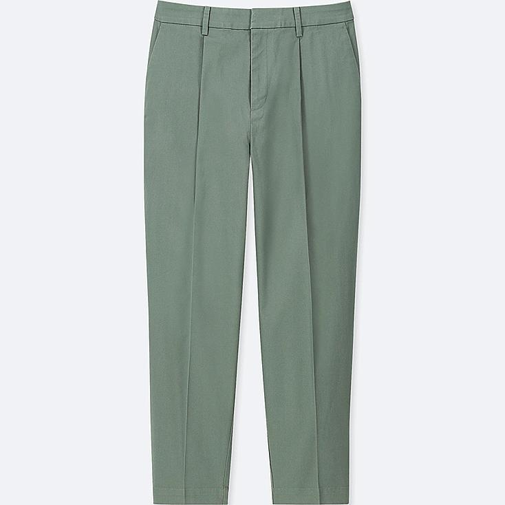 WOMEN COTTON TAPERED ANKLE-LENGTH PANTS, GREEN, large