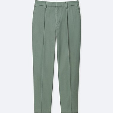 WOMEN COTTON TAPERED ANKLE-LENGTH PANTS, GREEN, medium