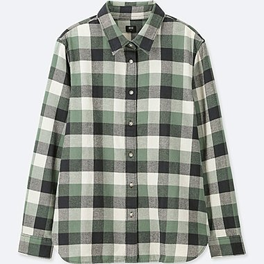 WOMEN FLANNEL CHECKED LONG-SLEEVE SHIRT, GREEN, medium