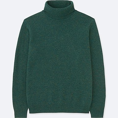 MEN PREMIUM LAMBSWOOL TURTLENECK LONG-SLEEVE SWEATER, GREEN, medium