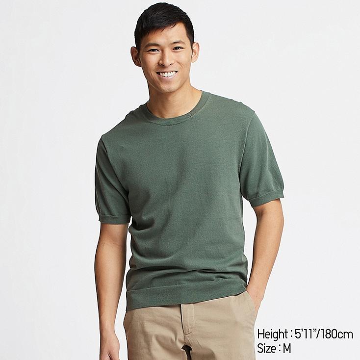 MEN WASHABLE CREW NECK SHORT-SLEEVE SWEATER, GREEN, large