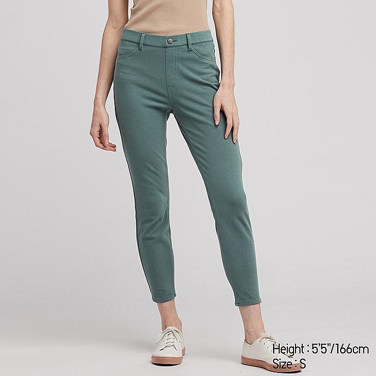 WOMEN ULTRA STRETCH CROPPED LEGGINGS PANTS, GREEN, large