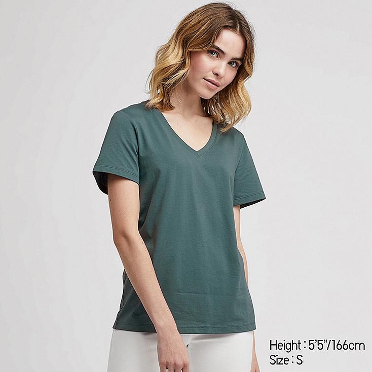 WOMEN SUPIMA® COTTON V-NECK SHORT-SLEEVE T-SHIRT, GREEN, large