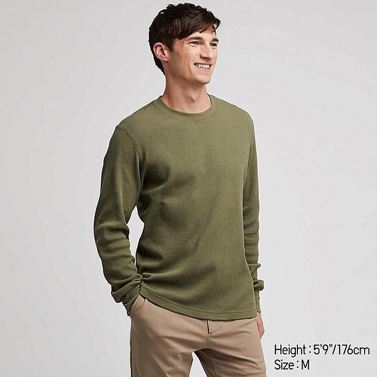 MEN WAFFLE CREW NECK LONG-SLEEVE T-SHIRT, GREEN, large