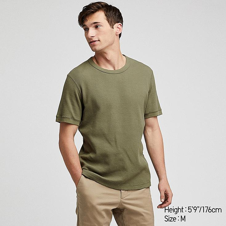 MEN WAFFLE CREW NECK SHORT-SLEEVE T-SHIRT, GREEN, large