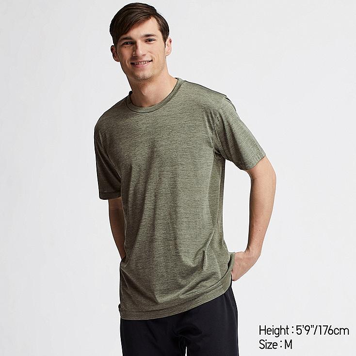 MEN DRY-EX CREW NECK SHORT-SLEEVE T-SHIRT, GREEN, large