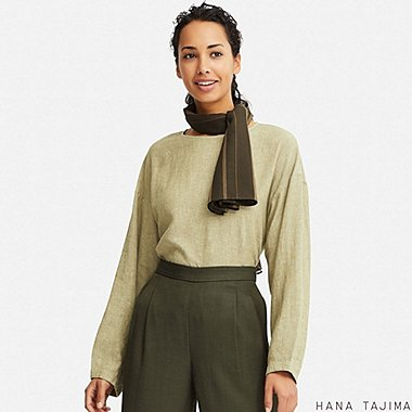 WOMEN LINEN BLEND LONG-SLEEVE BLOUSE (HANA TAJIMA), GREEN, medium