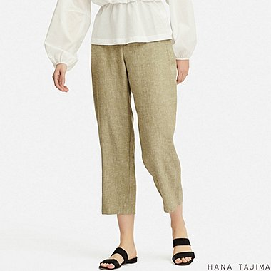 WOMEN LINEN BLENDED RELAXED ANKLE PANTS (HANA TAJIMA), GREEN, medium
