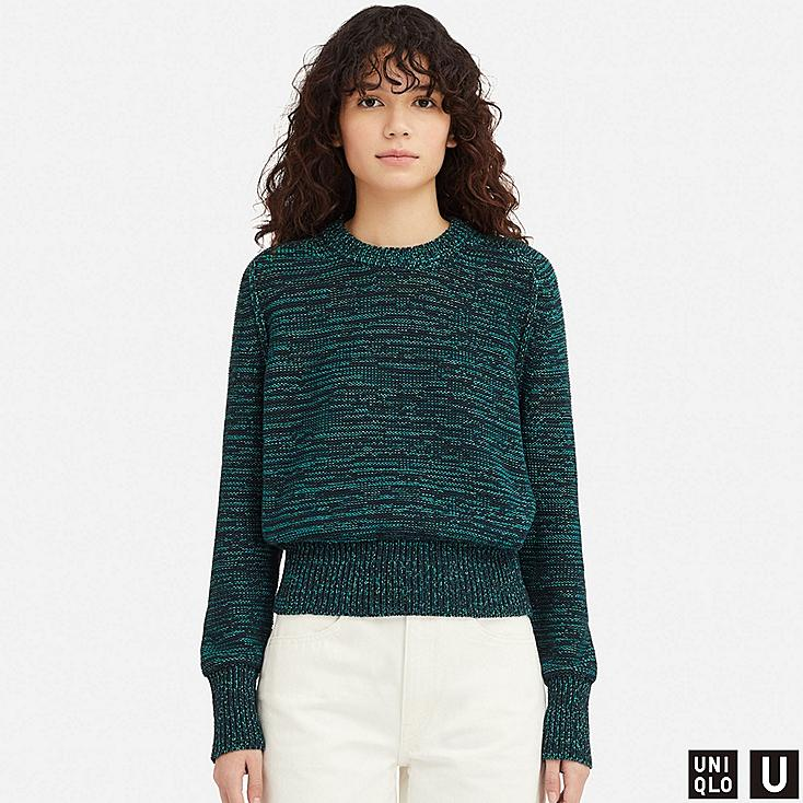 WOMEN U COLOR MIXED OVERSIZED SWEATER, GREEN, large