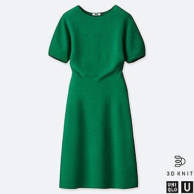 WOMEN U BALLOON HALF SLEEVE DRESS, GREEN, medium