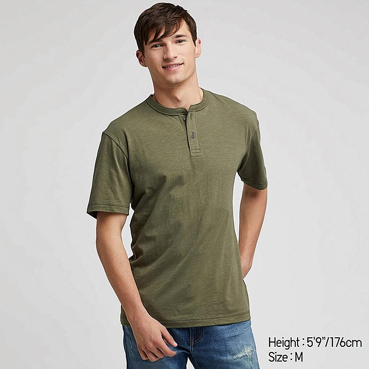MEN SLUB HENLEY NECK SHORT-SLEEVE T-SHIRT, GREEN, large