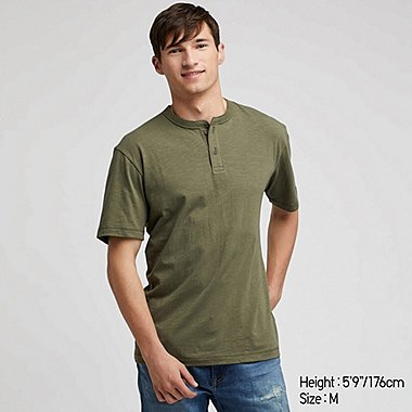 MEN SLUB HENLEY NECK SHORT-SLEEVE T-SHIRT, GREEN, medium
