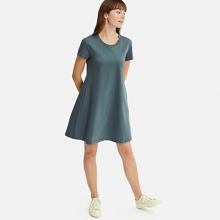 WOMEN MERCERIZED COTTON A-LINE MINI DRESS, GREEN, large