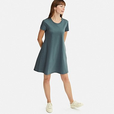 WOMEN MERCERIZED COTTON A-LINE MINI DRESS, GREEN, medium