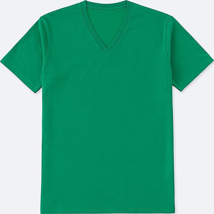 Men DRY V-Neck T-Shirt, GREEN, large
