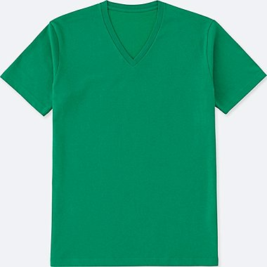 Mens DRY V-Neck T-Shirt, GREEN, medium