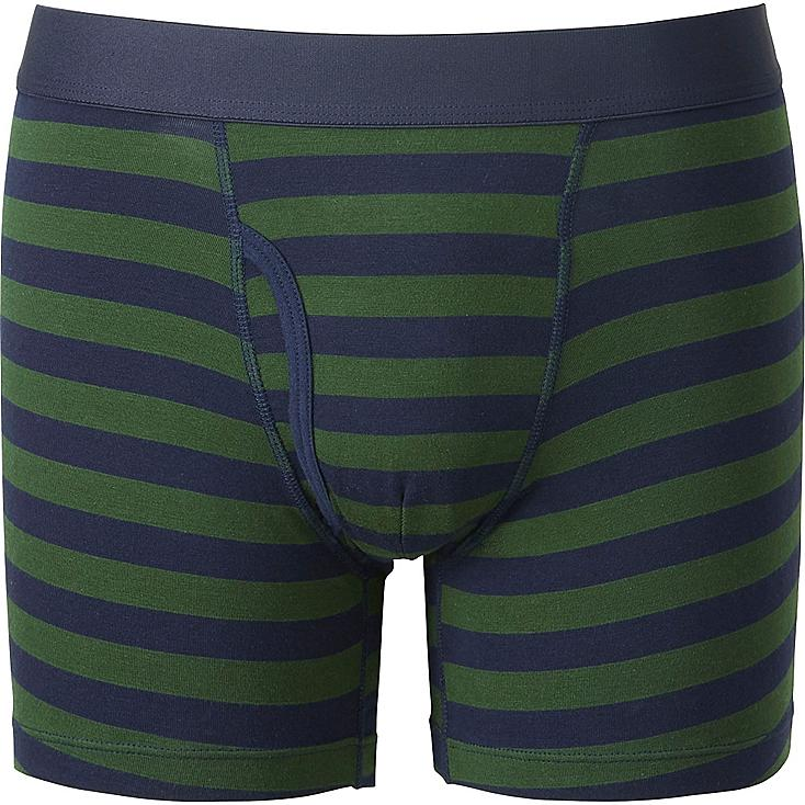 MEN Supima® COTTON STRIPED BOXER BRIEFS, GREEN, large