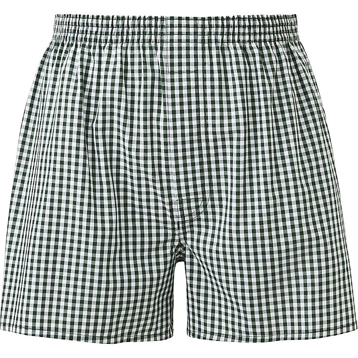 MEN WOVEN CHECKED TRUNKS, GREEN, large