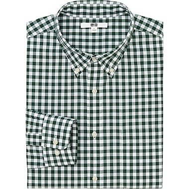 MEN EXTRA FINE COTTON BROADCLOTH CHECKED LONG SLEEVE SHIRT, GREEN, medium