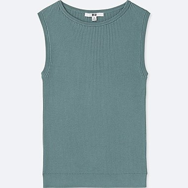 WOMEN SUPIMA COTTON SLEEVELESS SWEATER, GREEN, medium