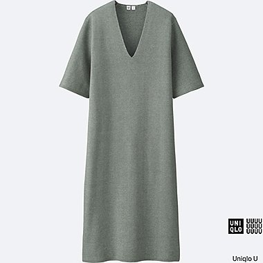 WOMEN Uniqlo U Milano Ribbed V Neck Dress