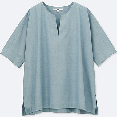 WOMEN Extra Fine Cotton Slit Neck Short Sleeve Blouse