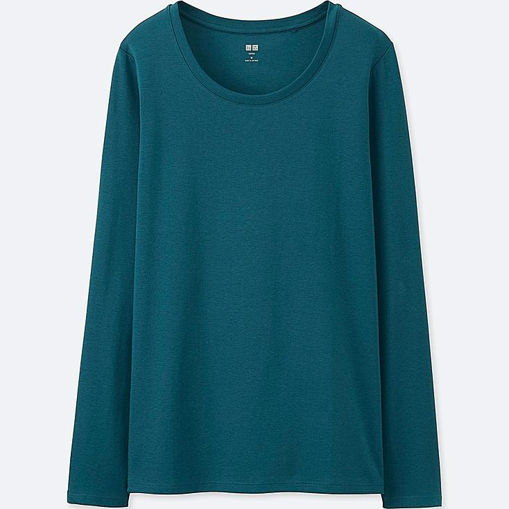 Women Supima® Cotton Crew Neck Long Sleeve T-Shirt, GREEN, large