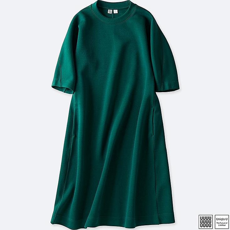 WOMEN U WOOL-BLEND SWEATSHIRT 3/4 SLEEVE DRESS, GREEN, large