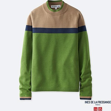 WOMEN INES EXTRA FINE MERINO COLOUR BLOCK SWEATER