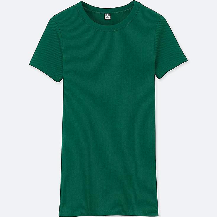WOMEN SUPIMA® COTTON RIBBED CREWNECK SHORT-SLEEVE T-SHIRT, GREEN, large