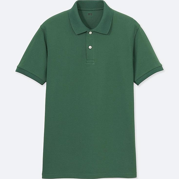 MEN DRY PIQUE SHORT-SLEEVE POLO SHIRT, GREEN, large
