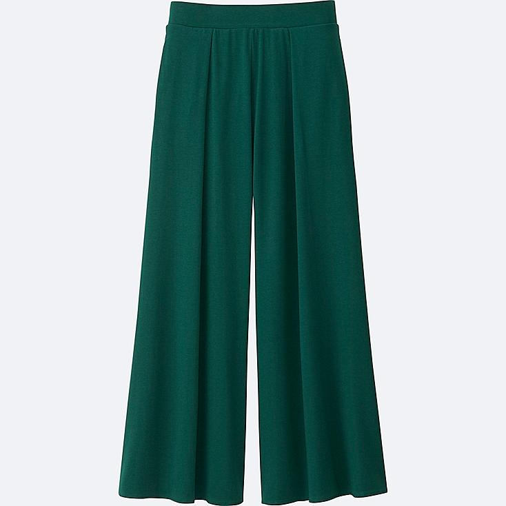 WOMEN JERSEY FLARE PANTS, GREEN, large
