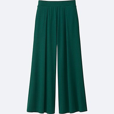 WOMEN JERSEY FLARE PANTS, GREEN, medium