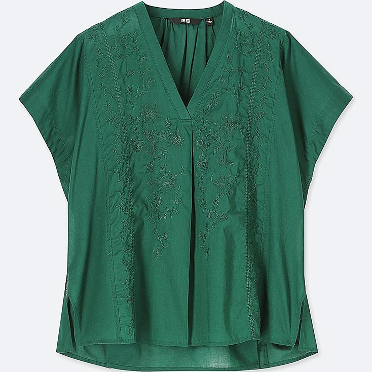 WOMEN COTTON EMBROIDERED SHORT-SLEEVE BLOUSE, GREEN, large