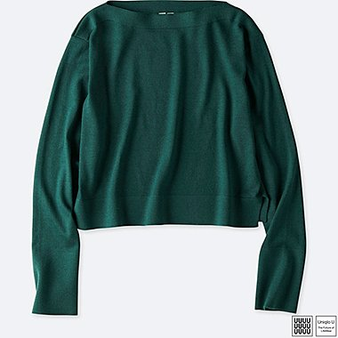 WOMEN UNIQLO U MERINO BLEND BOAT NECK CROPPED SWEATER