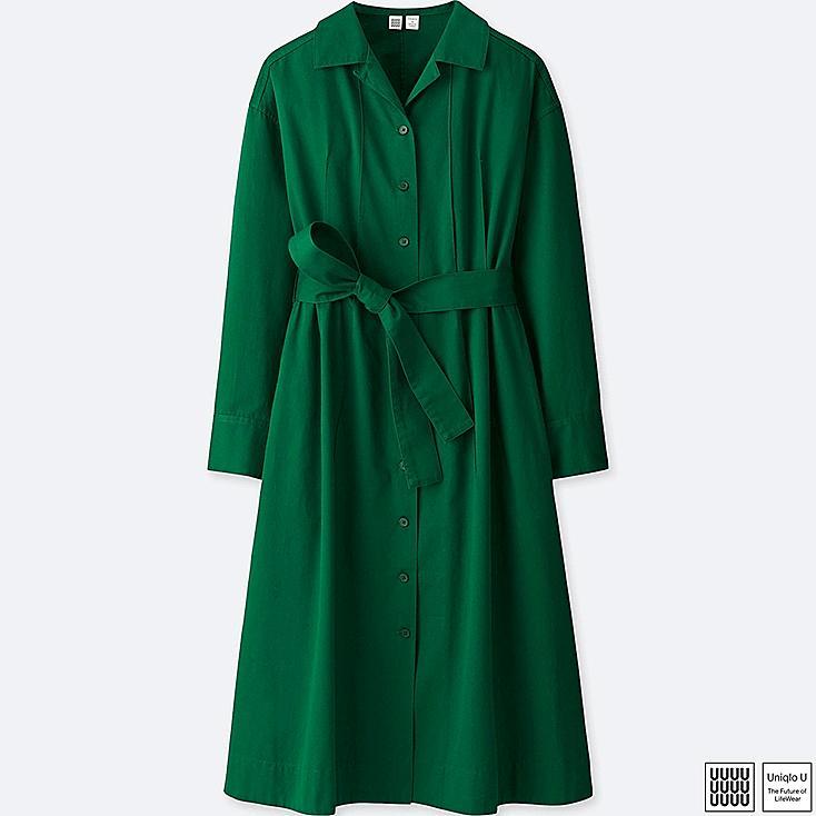 WOMEN U COTTON TWILL LONG-SLEEVE SHIRT DRESS, GREEN, large