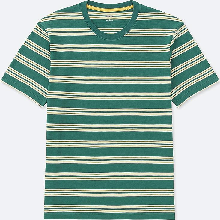 MEN STRIPED CREWNECK SHORT-SLEEVE T-SHIRT, GREEN, large