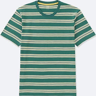 MEN STRIPED CREWNECK SHORT-SLEEVE T-SHIRT, GREEN, medium