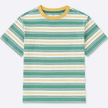 KIDS STRIPED CREWNECK SHORT-SLEEVE T-SHIRT, GREEN, medium