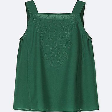 WOMEN COTTON EMBROIDERY TANK BLOUSE, GREEN, medium