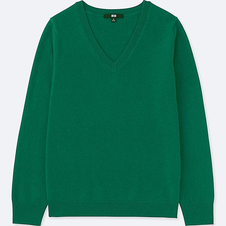 WOMEN CASHMERE V-NECK SWEATER, GREEN, large