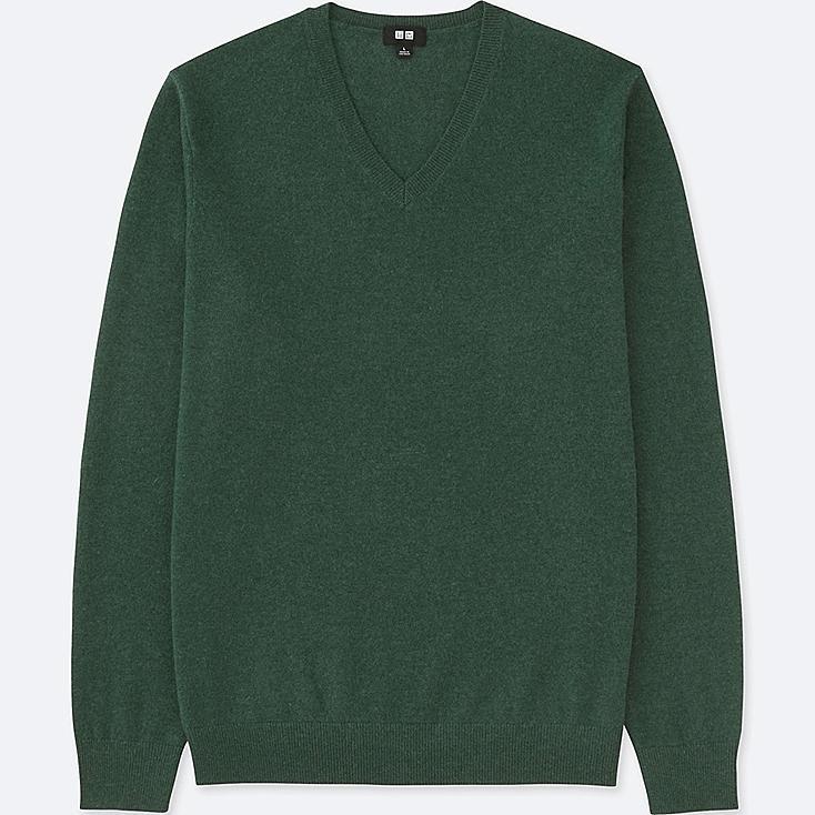 MEN CASHMERE V-NECK LONG-SLEEVE SWEATER, GREEN, large