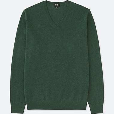MEN CASHMERE V-NECK LONG-SLEEVE SWEATER, GREEN, medium