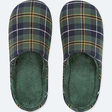 PATTERNED ROOM SHOES, GREEN, medium